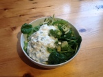 Easy lunch today: cottage cheese, avocado, spinach, lettuce and olive oil.